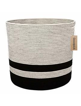 Goodpick Large Cotton Rope Basket   Woven Storage Basket   Floor Basket With Handle For Baby Nursery Decor Bin Laundry Basket Blanket Hamper Toys Basket, 18.1'' ×16.1'' by Goodpick