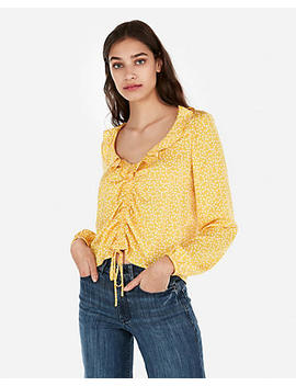 Satin Polka Dot Ruched Front Ruffle Neck Top by Express