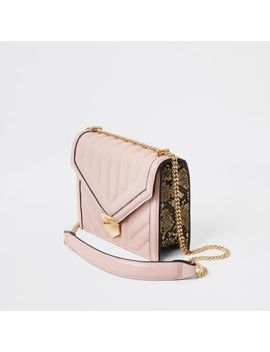 Pink Quilted Bar Top Cross Body Bag by River Island