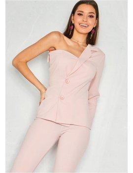 Luna Pink One Shoulder Button Up Blazer by Missy Empire