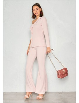 Ellie Pink High Waist Flare Trousers by Missy Empire