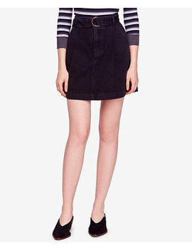 Jade Belted Cotton Denim Mini Skirt by Free People