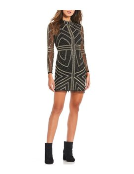 Jess Mockneck Metallic Sequin Embellished Mini Dress by Gianni Bini
