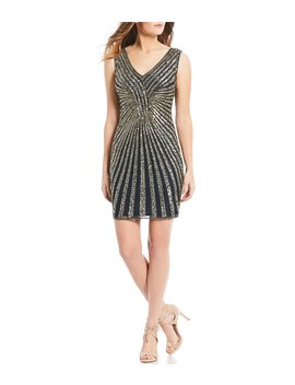 V Neck Sequin Sheath Dress by Pisarro Nights