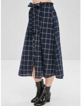 Checked Tie Button Up Skirt   Dark Slate Blue L by Zaful