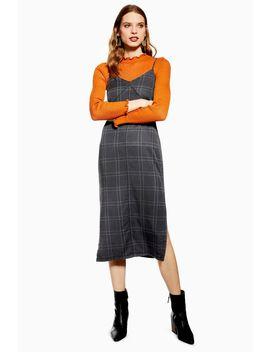Check Denim Midi Dress by Topshop