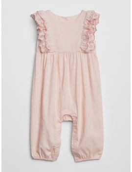 eyelet-cascade-ruffle-one-piece by gap