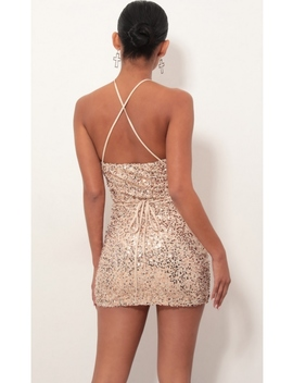 Tessa Sequin Bodycon Dress In Champagne by Lucy In The Sky