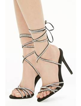 Rhinestone Ankle Wrap Heels by Forever 21