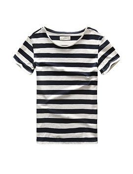 Zecmos Mens Striped T Shirt Casual Slim Fit Striped Tees Tops Summer Navy L by Zecmos