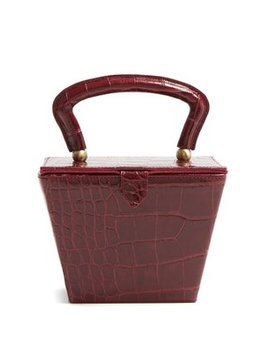 Sadie Mini Crocodile Effect Leather Box Bag by Staud