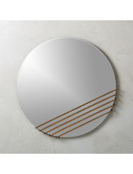 Rebar Plated Brass Round Mirror by Crate&Barrel