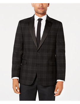 Men's Modern Fit Th Flex Stretch Charcoal/Black Tartan Dinner Jacket by Tommy Hilfiger