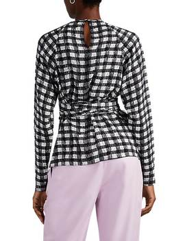 Abstract Gingham Silk Wrap Top by Derek Lam