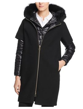Fur Trim Mixed Media Coat by Herno