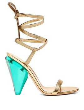 Palace 105 Cone Heel Metallic Leather Sandals by Gianvito Rossi