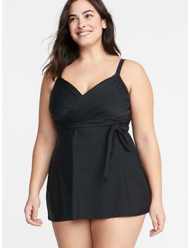Secret Slim Plus Size Wrap Front Swim Dress by Old Navy