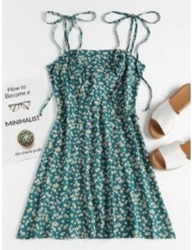 Floral Tie Strap Apron Mini Sundress   Greenish Blue L by Zaful