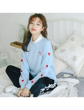 Fania   Heart Embroidery Sweatshirt by Fania
