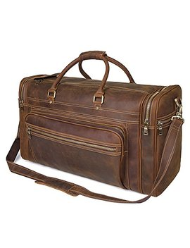 "Polare 23.6"" Retro Full Grain Leather Duffel Weekender Travel Overnight Luggage Bag by Polare"
