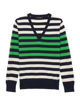 Cashmere Stripe V Neck Sweater by Banana Repbulic