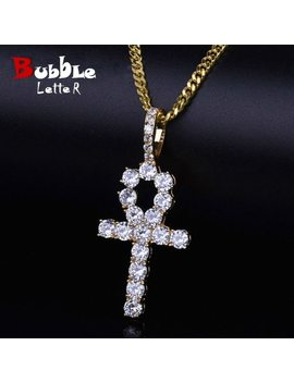 Iced Zircon Ankh Cross Pendant Gold Silver Copper Material Cz Egyptian Key Of Life Pendant Necklace Men Women Hip Hop Jewelry by Bubble Letter