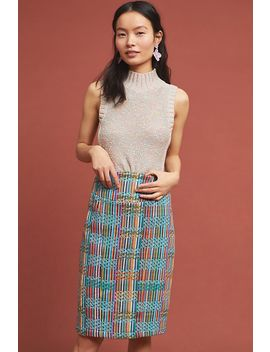 Rainbow Tweed Pencil Skirt by Eva Franco