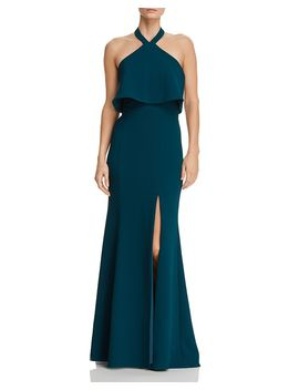 Crepe Halter Popover Gown   100 Percents Exclusive by Aqua