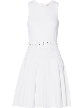 Whipstitched Pleated Knitted Mini Dress by Michael Michael Kors