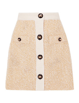 Button Embellished Metallic Bouclé Tweed Mini Skirt by Alessandra Rich
