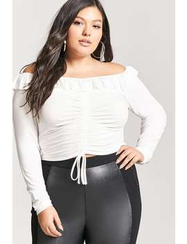 Plus Size Off The Shoulder Ruched Top by Forever 21