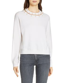 Gleeson Embellished Neck Sweater by Alice + Olivia