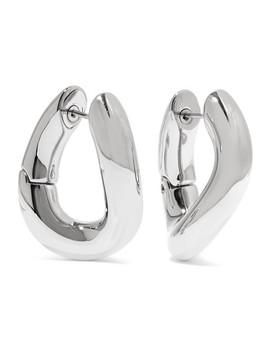 Palladium Tone Hoop Earrings by Balenciaga