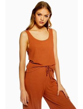 Rust Brushed Ribbed Pyjama Camisole Top by Topshop