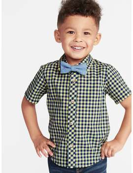 Built In Flex Gingham Shirt & Chambray Bow Tie Set For Toddler Boys by Old Navy