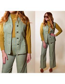 1960s Vintage Mod Sleeveless Tunic + Pant Flare Pant Set Women's Size Xs S by Etsy