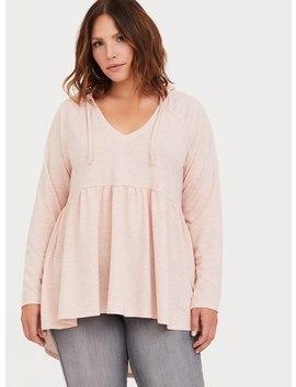 Heather Pink Hooded Babydoll Sweatshirt by Torrid