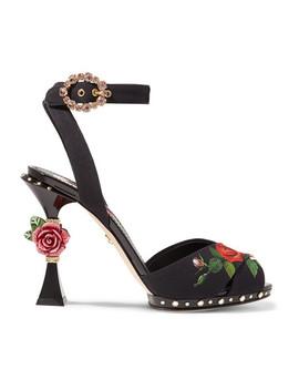 Embellished Floral Print Charmeuse Sandals by Dolce & Gabbana