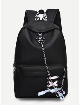 Lace Up Chain Decor Backpack by Sheinside