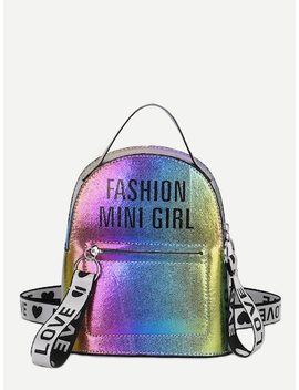 Rainbow Satchel Backpack With Slogan Strap by Sheinside