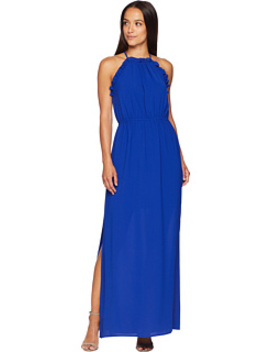 Gauzy Crepe Ruffle Maxi Dress by Adrianna Papell