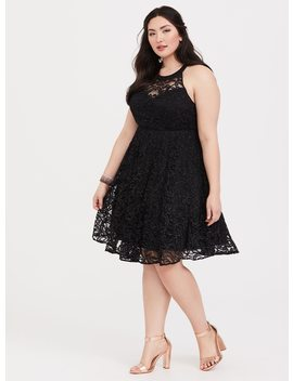 Special Occasion Black Lace Halter Skater Dress by Torrid