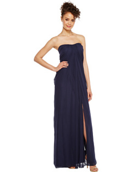 Strapless Shirred Chiffon Gown by Aidan Mattox