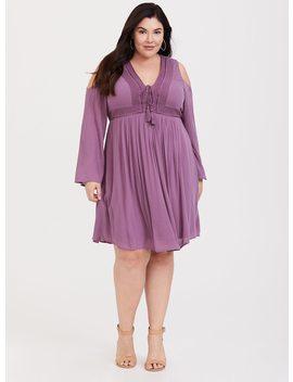 Purple Gauze Lace Up Trapeze Dress by Torrid
