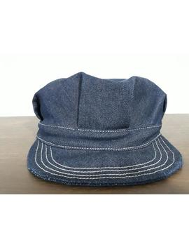 Vintage Repro Denim Indigo Railroad Worker Mechanic Enginneer Hat Medium Size. by Etsy