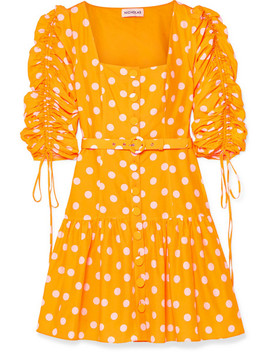 Belted Ruched Polka Dot Cotton And Silk Blend Voile Mini Dress by Nicholas