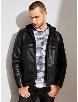 Dylan Hooded Moto Jacket by Guess