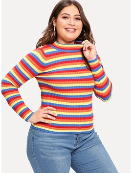 Plus Ribbed Knit Striped Jumper by Shein