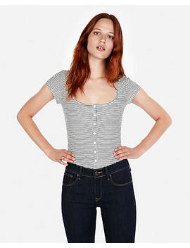 Express One Eleven Ribbed Striped Button Front Tee by Express