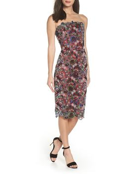Maria Embroidered Strapless Cocktail Sheath by Bronx And Banco